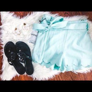 NWT HYFVE Scalloped Mint Tie Waist Shorts 00
